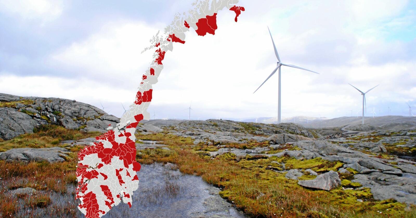 134 kommuner ønsker endringer i hvordan man gir konsesjon til vindkraftutbygging. De vil ha mer makt selv. Se klikkbar grafikk lenger ned i saken. Foto: Lars Bilit Hagen
