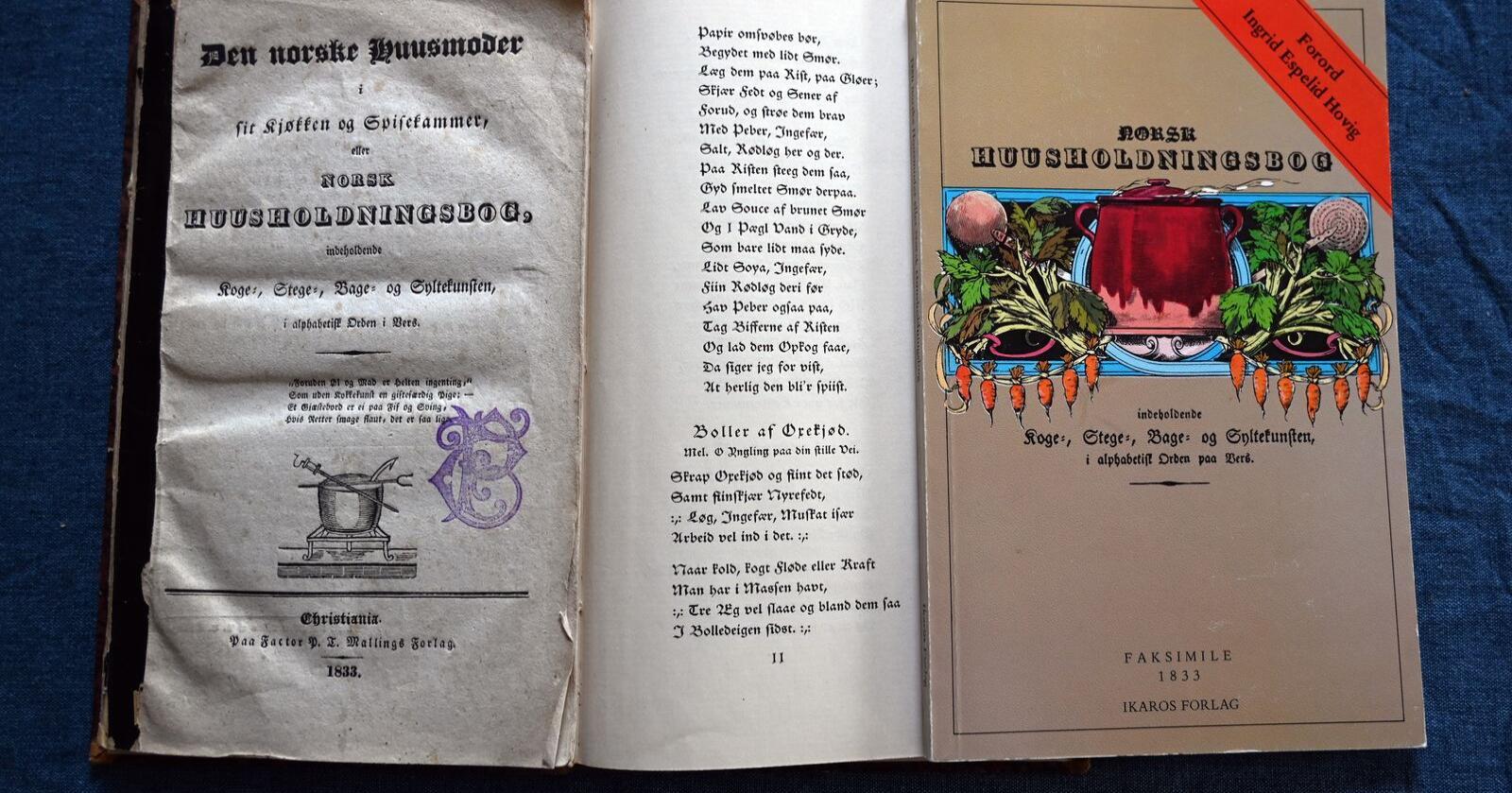 Trekløver: Førsteutgaven fra 1833 til venstre, et utdrag fra en begrenset nyutgivelse i 1949 i midten og et moderne opptrykk fra 1980 til høyre.