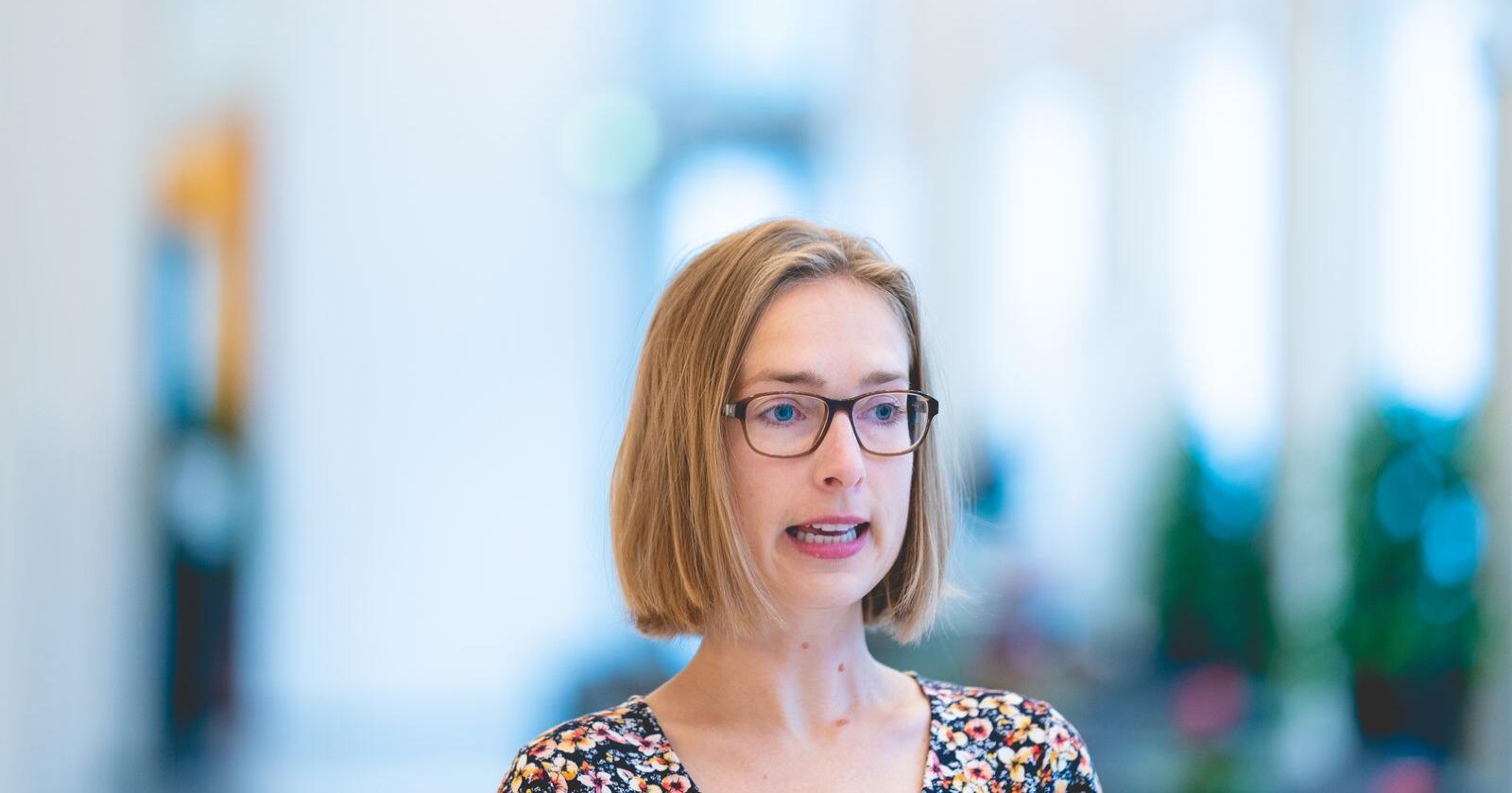 – Det nye kredittforsikringstilbudet har sikret økt handel for om lag 500 ulike bedrifter i Norge, sier næringsminister Iselin Nybø (V). Foto: Stian Lysberg Solum / NTB scanpix
