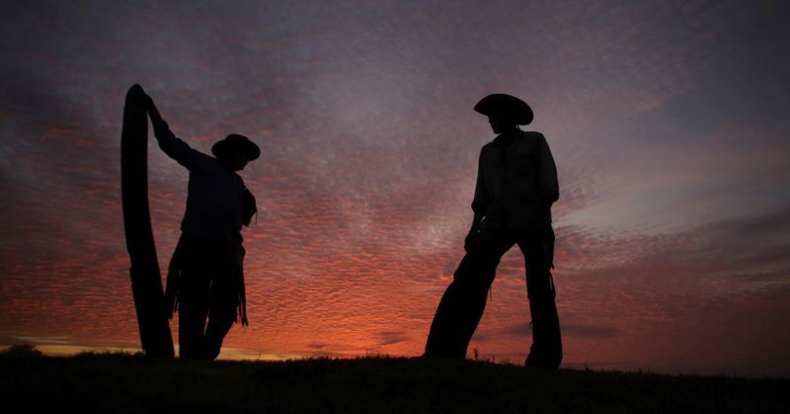 To cowboyer i kommunen Corumba i våtmarksområdet Pantanal på et bilde tatt i 2017. Corumba er i år hardt rammet av branner som i mange tilfeller startes av kvegbønder. Foto: Eraldo Peres / AP / NTB scanpix