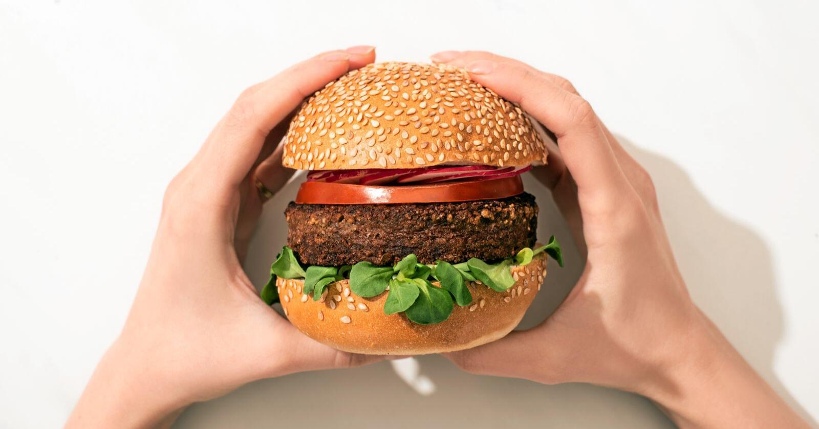 At det dukker opp mer veganske produkter handler ikke om kun veganere, men om at stadig flere blir nysgjerrige på å spise mer plantebasert, skriver Norsk vegansamfunn. Her ser vi en veganburger. Foto: Mostphotos