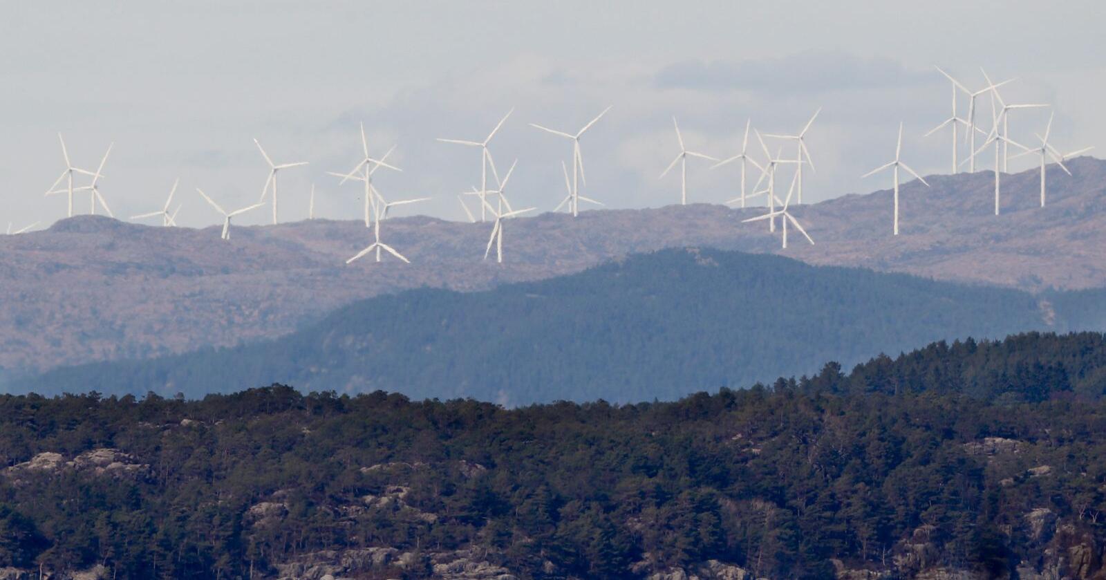 Regjeringen har sagt ja til vindkraftprosjekter på Stad i Nordfjord og Haram på Sunnmøre. Bildet er av vindturbiner i Fitjar. Foto: Jan Kåre Ness / NTB scanpix
