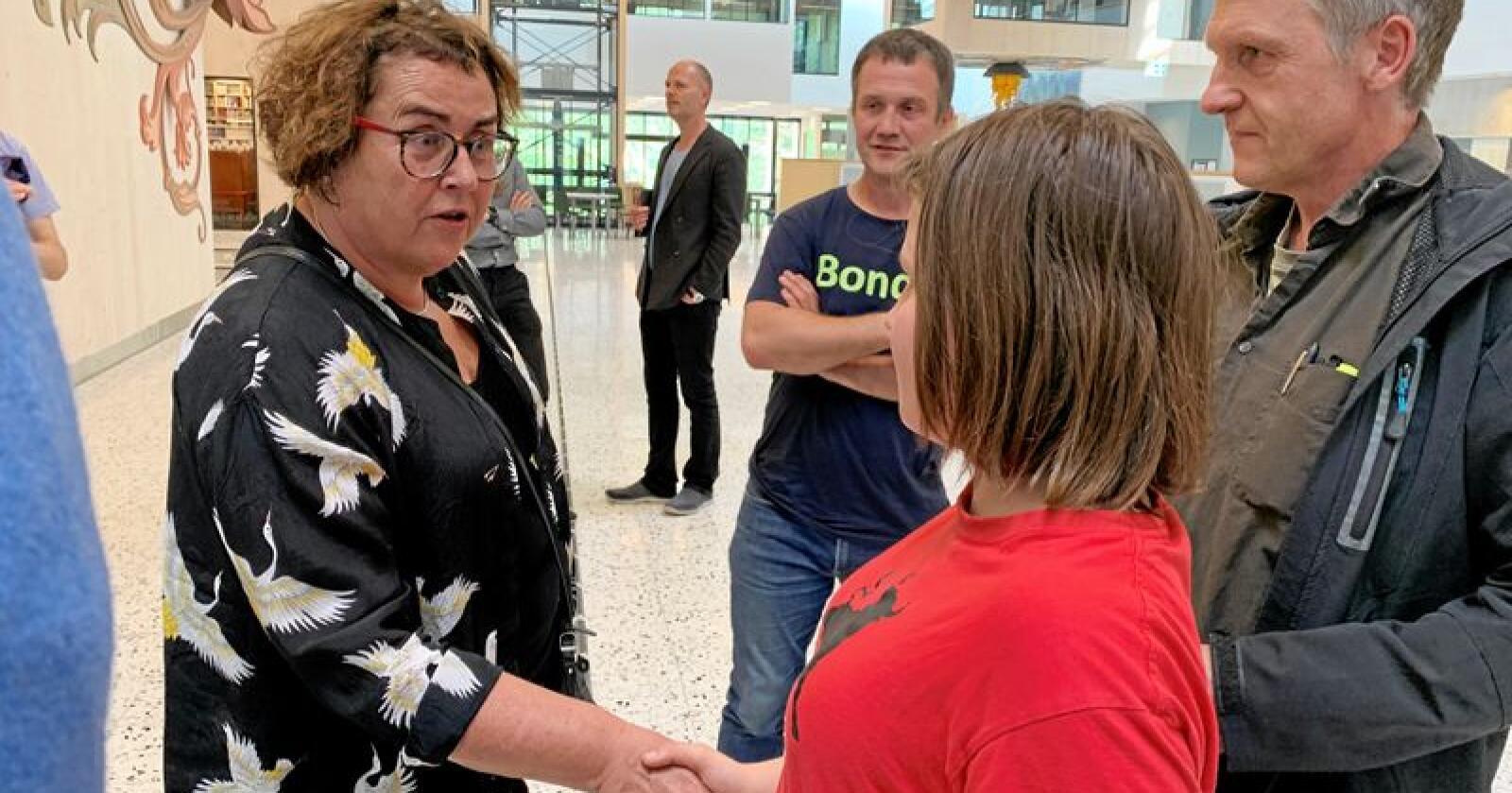Ingeborg Dolve møtte Olaug Bollestad. Foto: Kari Nygard Tvilde