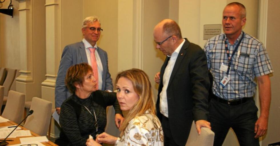 Mjølkekutt: Nedskalering av mjølkeproduksjonen skapte engasjement under høyringa på Stortinget. Bak frå venstre: André N. Skjelstad (V) og Steinar Reiten (KrF) i samtale med Margunn Ebbesen (H) (t.v.) og Linda C. Hofstad Helleland (H). Bak til høgre: Johnny Ødegård, direktør for politikk og samfunnskontakt i Tine. Foto: Bjarne Bekkeheien Aase