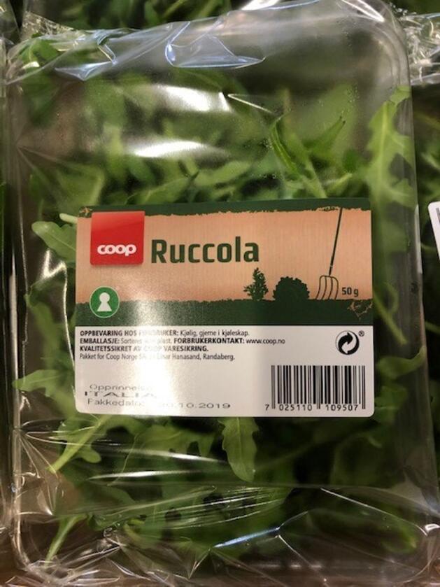 Coop tilbakekaller ruccola solgt i butikker i Rogaland og Hordaland etter funn av E. coli. Foto: COOP / NTB scanpix
