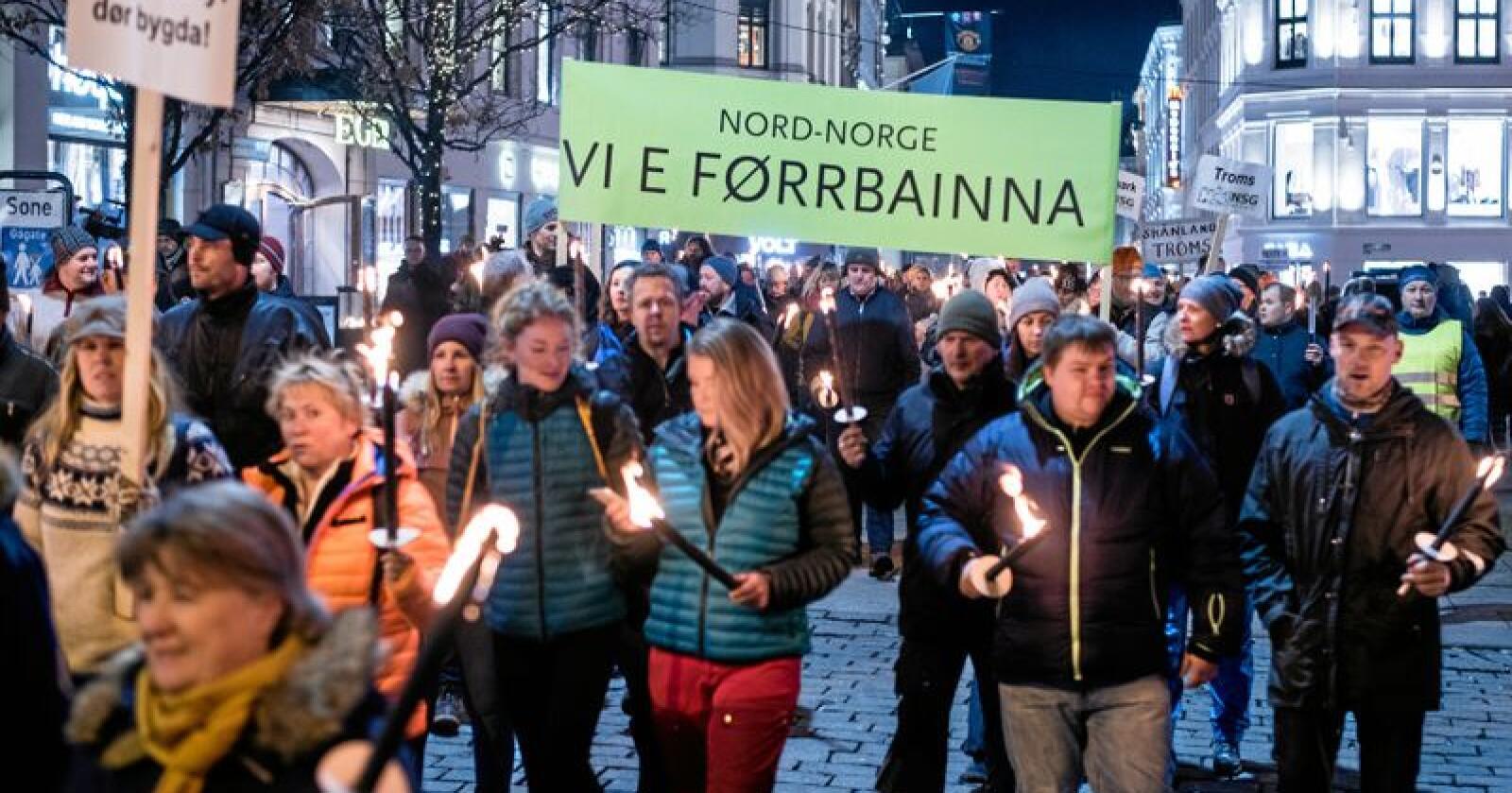 Fakkeltog og ulveprotest i Oslo januar 2019. Foto: Vidar Sandnes