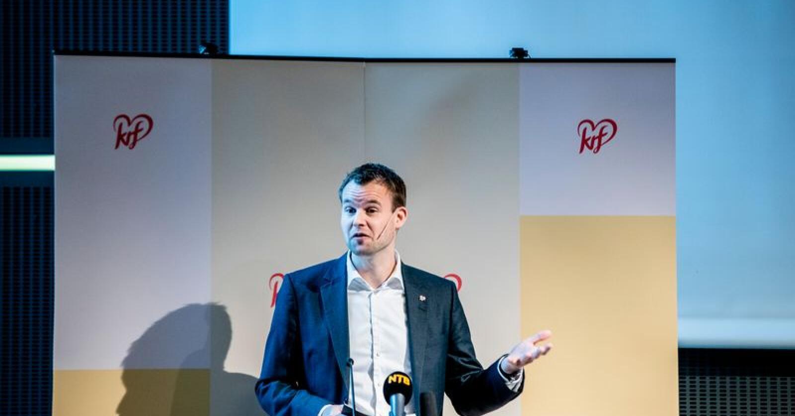 KrF får 2,9 prosent oppslutning i novembermålingen fra Norstat. Venstre får en oppslutning på 2,0 prosent. Foto: Stian Lysberg Solum / NTB scanpix