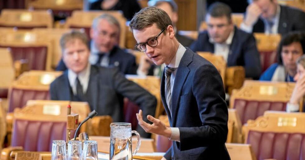 KrFs Tore Storehaug på Stortingets talarstol. Foto: Vidar Ruud / NTB scanpix