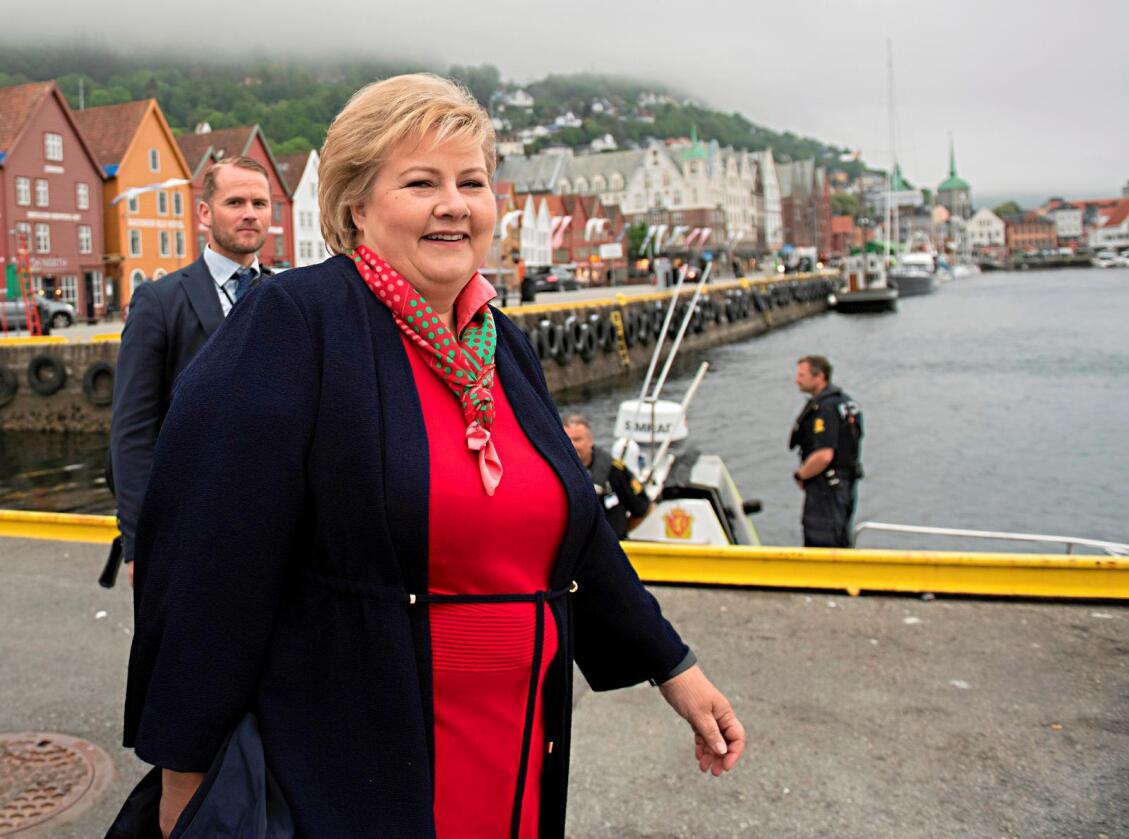 Erna Solberg (H) starter valgkampen med en omfattende vestlandsturné i helgen. Hun begynner i hjempbyen Bergen. Foto: Erlend Aas / NTB scanpix