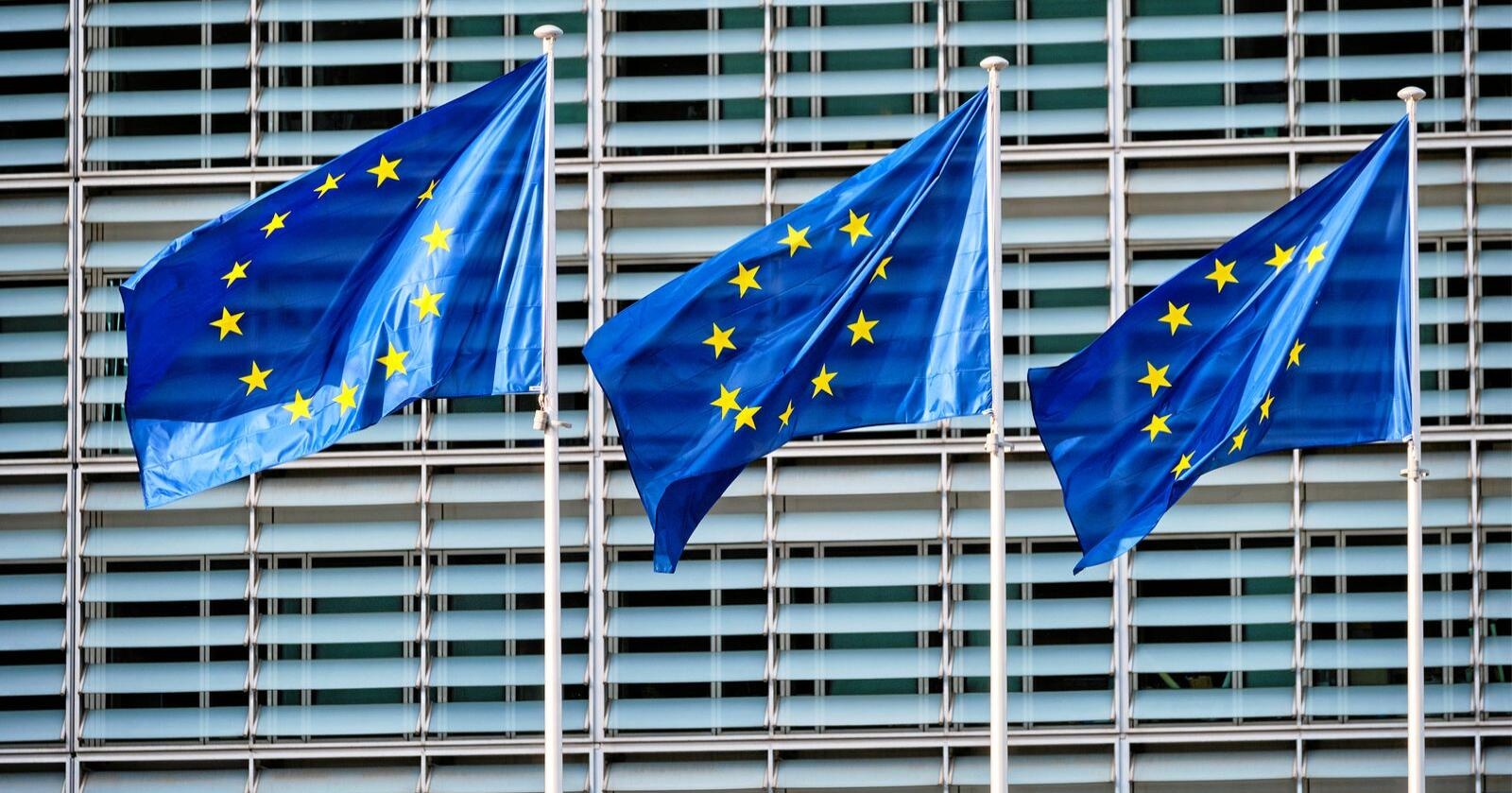 EU-flagg som vaier i vinden utenfor Europakommisjonen har sitt hovedkontor i Brüssel. Foto: Mostphotos / Dmitry Rukhlenko
