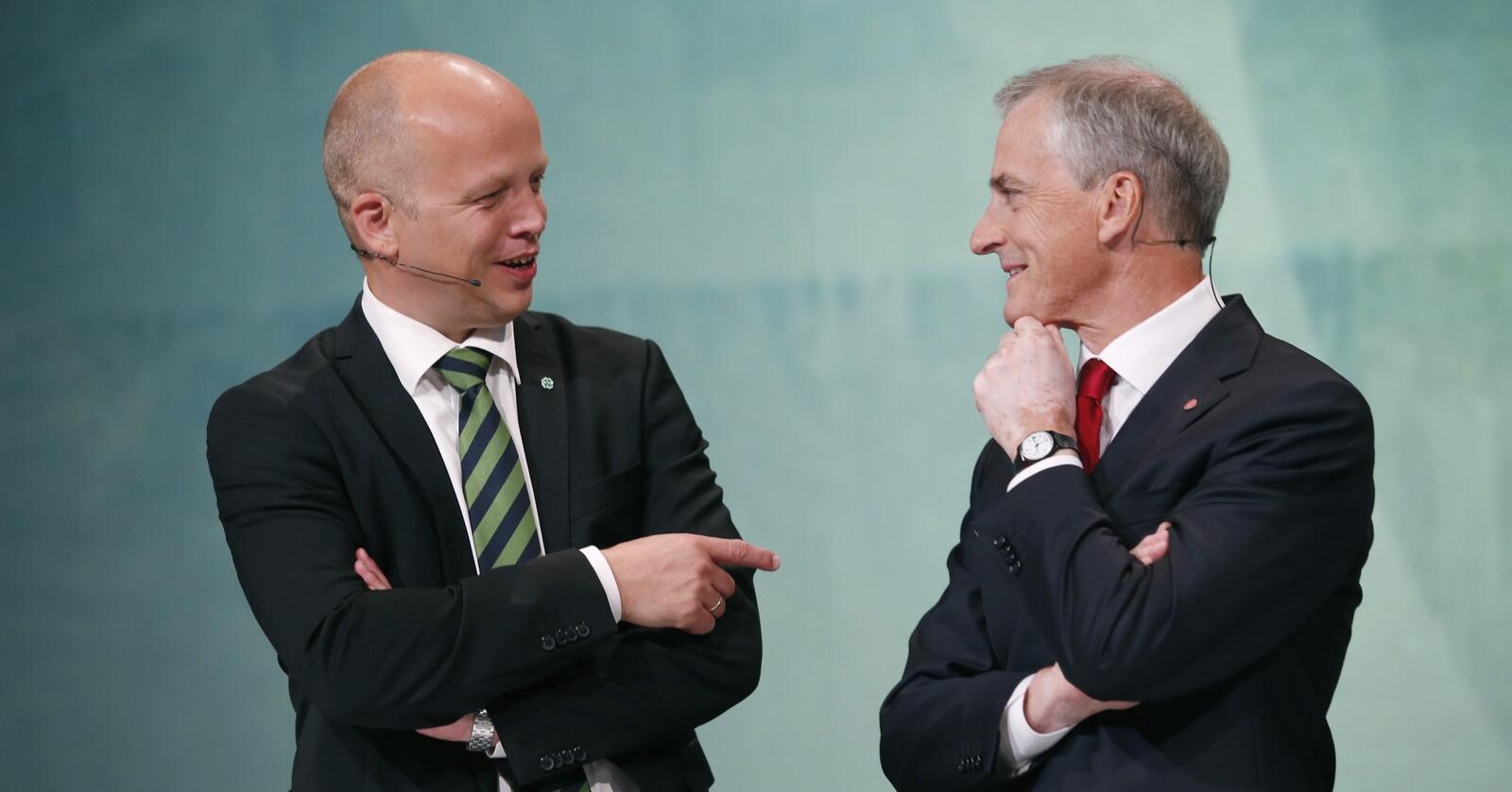 Henter borgerlige velgere: Både Trygve Slagsvold Vedum (Sp) og Jonas Gahr Støre (Ap) henter velgere fra de borgerlige partiene. Foto: Terje Bendiksby / NTB