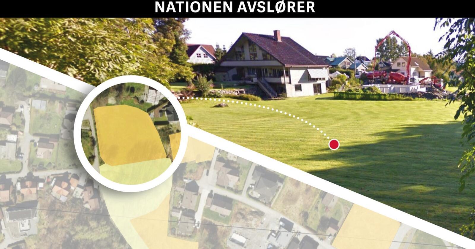 Byjord: I AR5-kartet (til venstre) er denne plenen på Mariero midt i Stavanger oppført som 2,3 dekar fulldyrka jord. I det tettbygde nabolaget er det til saman 7,8 dekar fulldyrka jord (farga oransje) og 2,9 dekar innmarksbeite (farga gult). Fleire tomter blei skilt ut og hus bygd for 50 år sidan. Fotomontasje: Käthe Friess. Foto: Nibio / Google