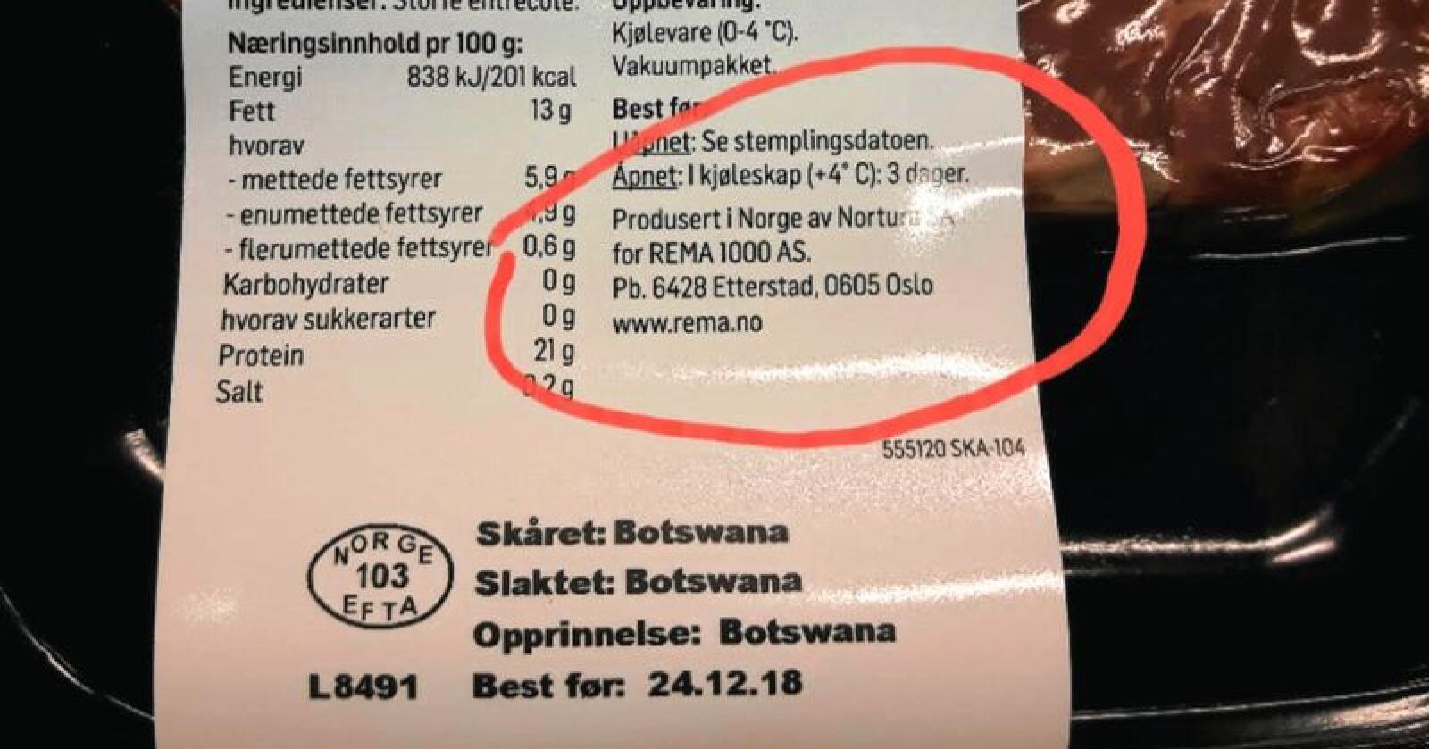 På en pakke til en entrecôte fra Rema 1000 går det fram at kjøttet er produsert i Norge av Nortura, samtidig som den er skåret, slaktet og opprinnelig er fra Botswana. Foto: Skjermdump