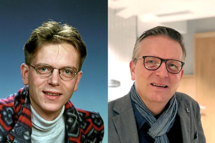 Anders Hornslien då og no. Sveisen og brillene har endra seg, men EU-standpunktet er det same.  Foto: NTB Scanpix/Line Omland Eilevstjønn