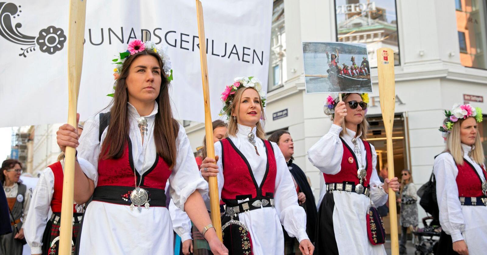 Demonstrasjon: Bunadsgeriljaen kjemper for et trygt og godt fødetilbud over hele Norge. Foto: Ryan Kelly / NTB scanpix