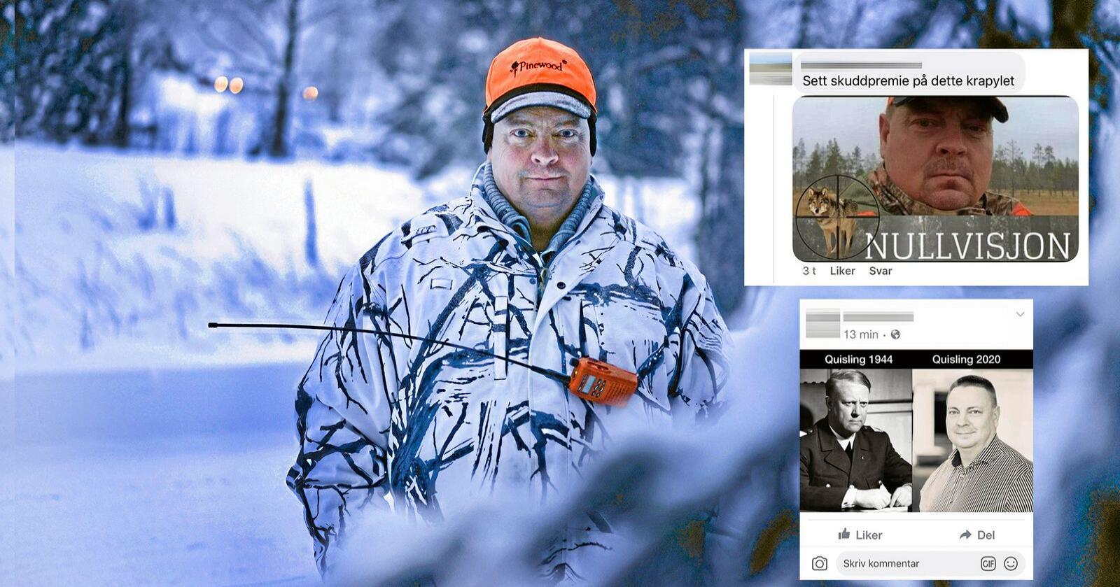 Arne Sveen har ledet ulvejakt flere ganger. Han står utsatt til for trusler og hets på nettet. Foto: Benjamin Hernes Vogl / Facebook