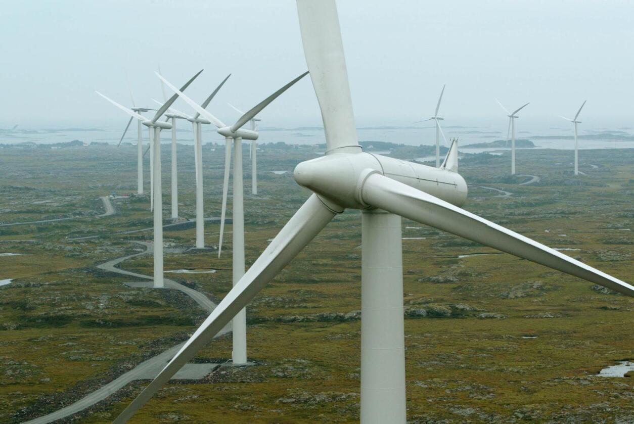 De 20 vindmøllene her på Smøla produserer 120 GWh per. år, som tilsvarer behovet til ca. 6.000 husstander. Foto: Bjørn Sigurdsøn / NTB scanpix