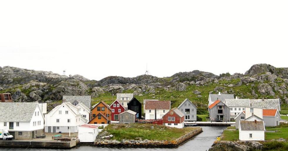 Nordvik på Utsira. Her kjem og går ferja frå Haugesund. Foto: Line Omland Eilevstjønn