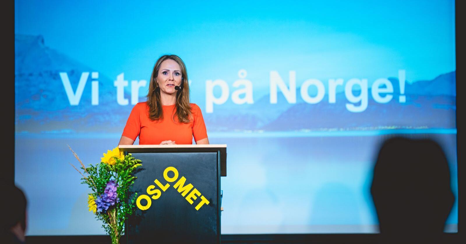 Denne veka presenterte leiar for Høgres programkomité, Linda Hofstad Helleland, fyrsteutkast til  stortingsvalprogram. Foto: Stian Lysberg Solum / NTB scanpix
