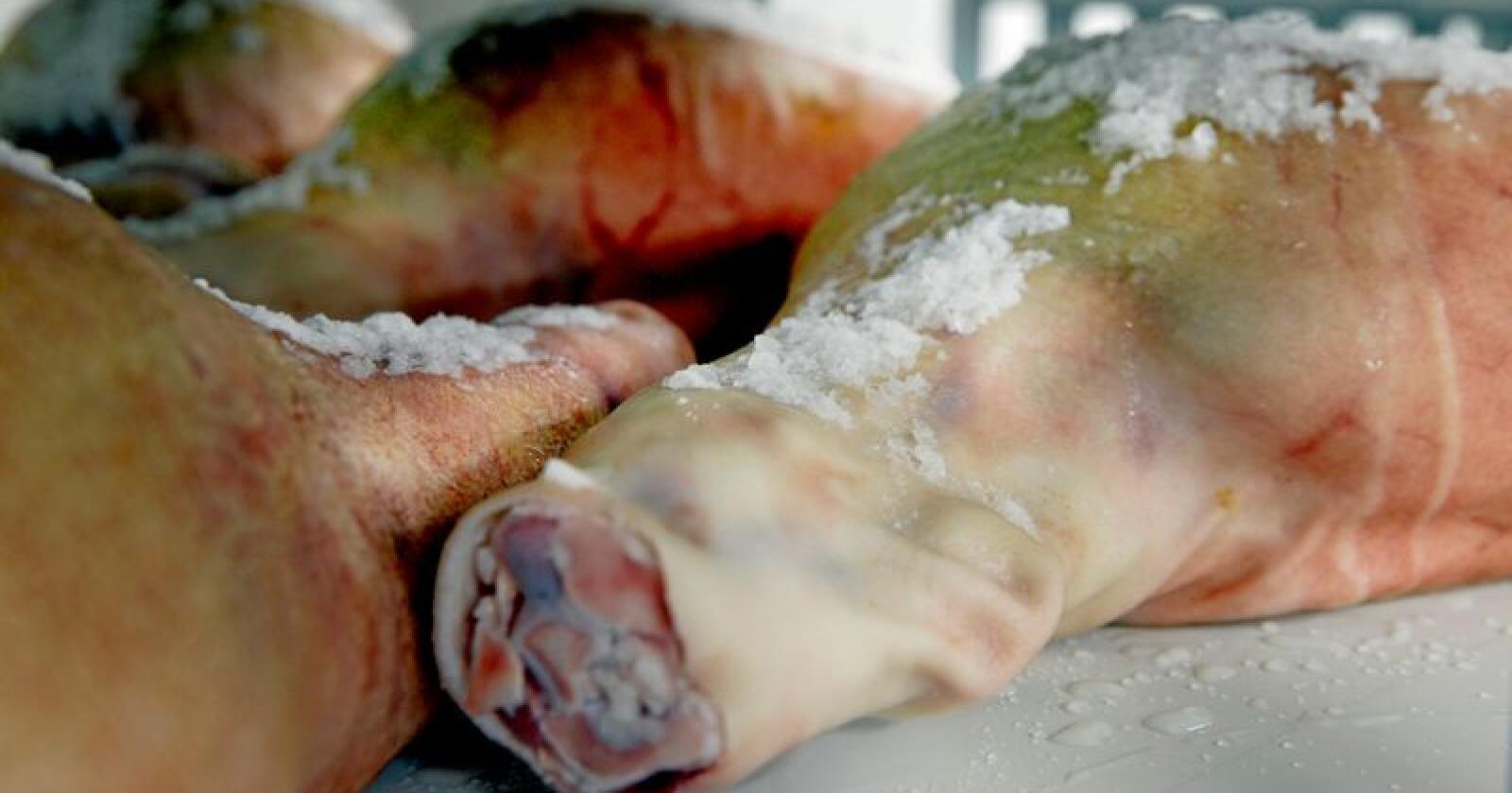 Santa Kristina-skinke salts med havsalt og masseres for å nå få den aller beste kvalitet. Foto: Mariann Tvete