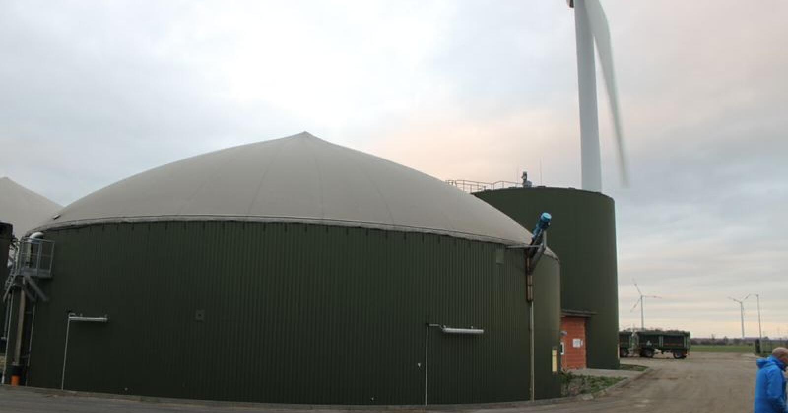 Verdens største svineprodusent, Smithfields Foods, skal investere i biogassanlegg på over 1000 gårder i USA for å redusere sine klimagassutslipp. Dette biogassanlegget ligger imidlertid på en gård i Tyskland. Foto: Espen Syljuåsen