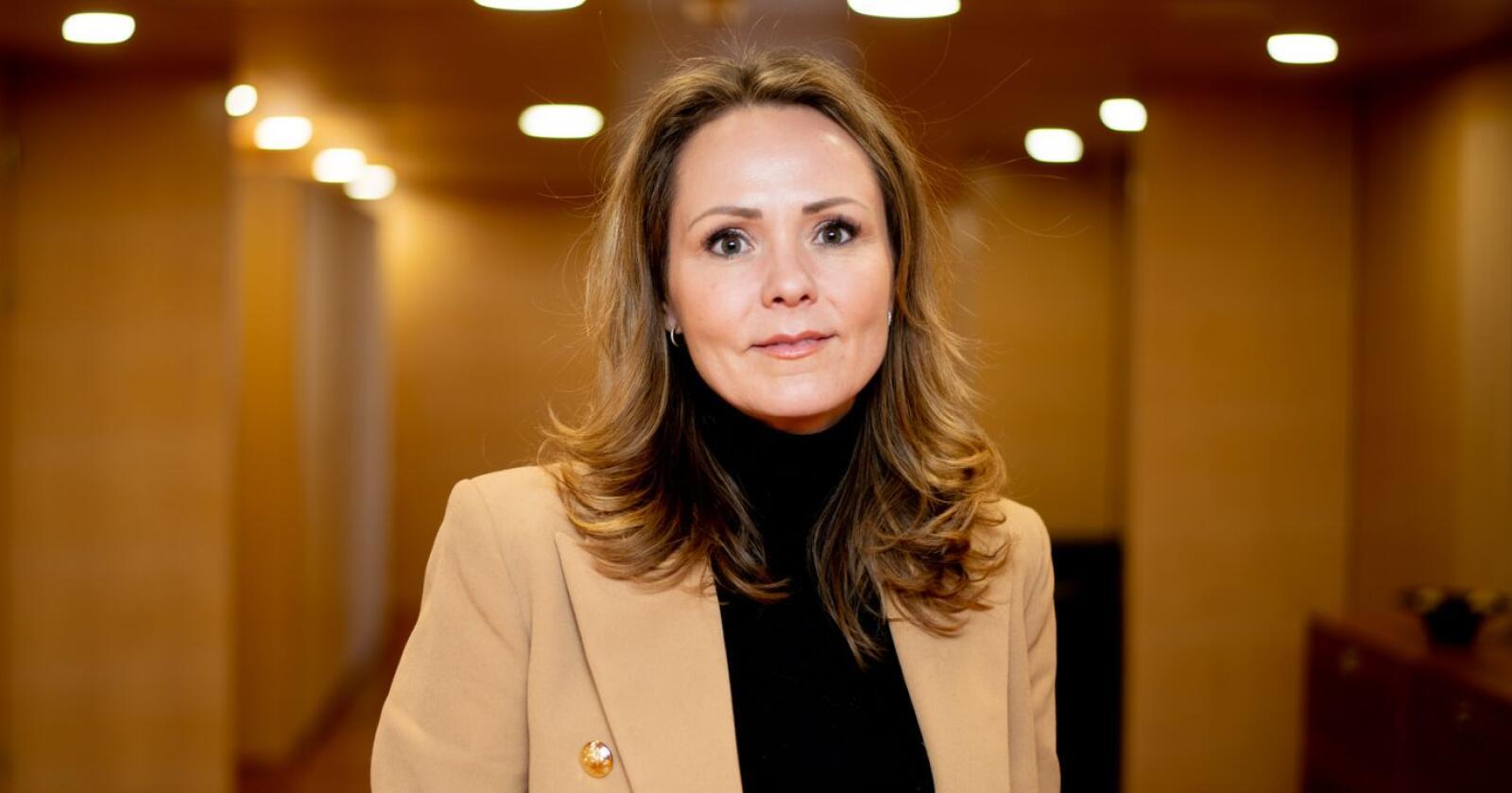 Distrikts- og digitaliseringsminister Linda Hofstad Helleland forteller Nationen om sitt distriktspolitiske prosjekt og hvordan hun har mottatt all kritikken. Foto: Vidar Sandnes