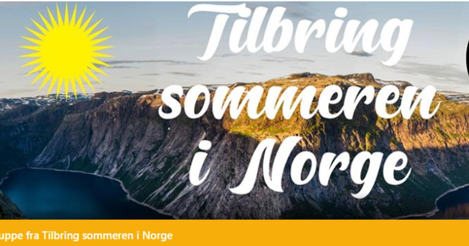 Facebook-gruppa «Tilbring sommeren i Norge» har over 250.000 medlemmer. Skjermdump: Facebook