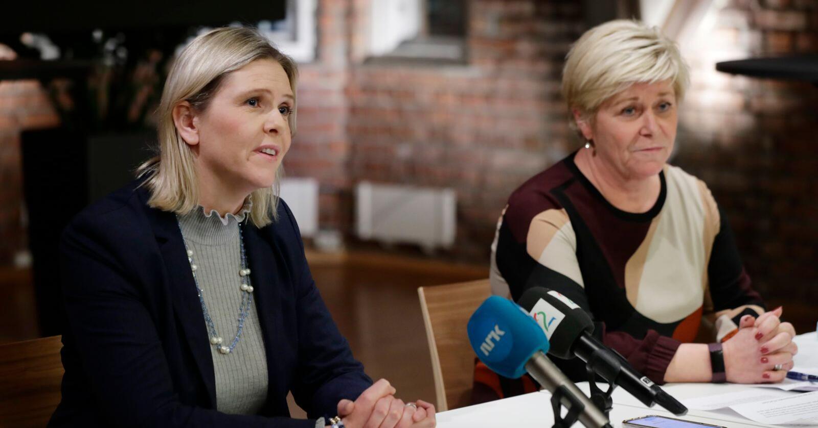 Partileder Siv Jensen og nestleder Sylvi Listhaug i Frp. Foto: Berit Roald / NTB