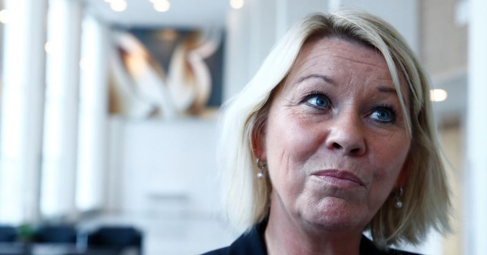 Kommunal- og moderniseringsminister Monica Mæland la fram en ny stortingsmelding om distriktspolitikk fredag. Foto: Terje Pedersen / NTB scanpix
