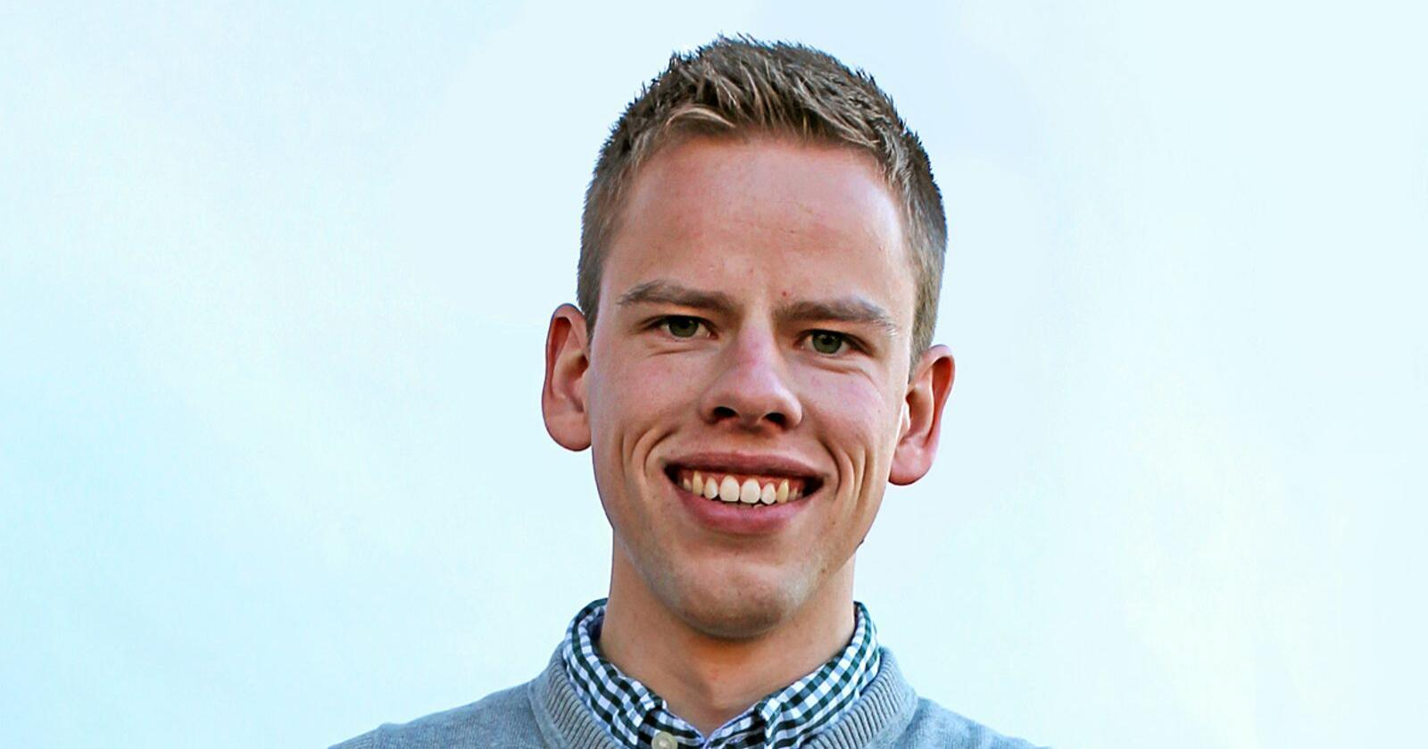 Skjalg Hamnes, sentralstyremedlem i Senterungdommen og fylkesstyremedlem i  Nordland Senterungdom. Foto: Senterungdommen