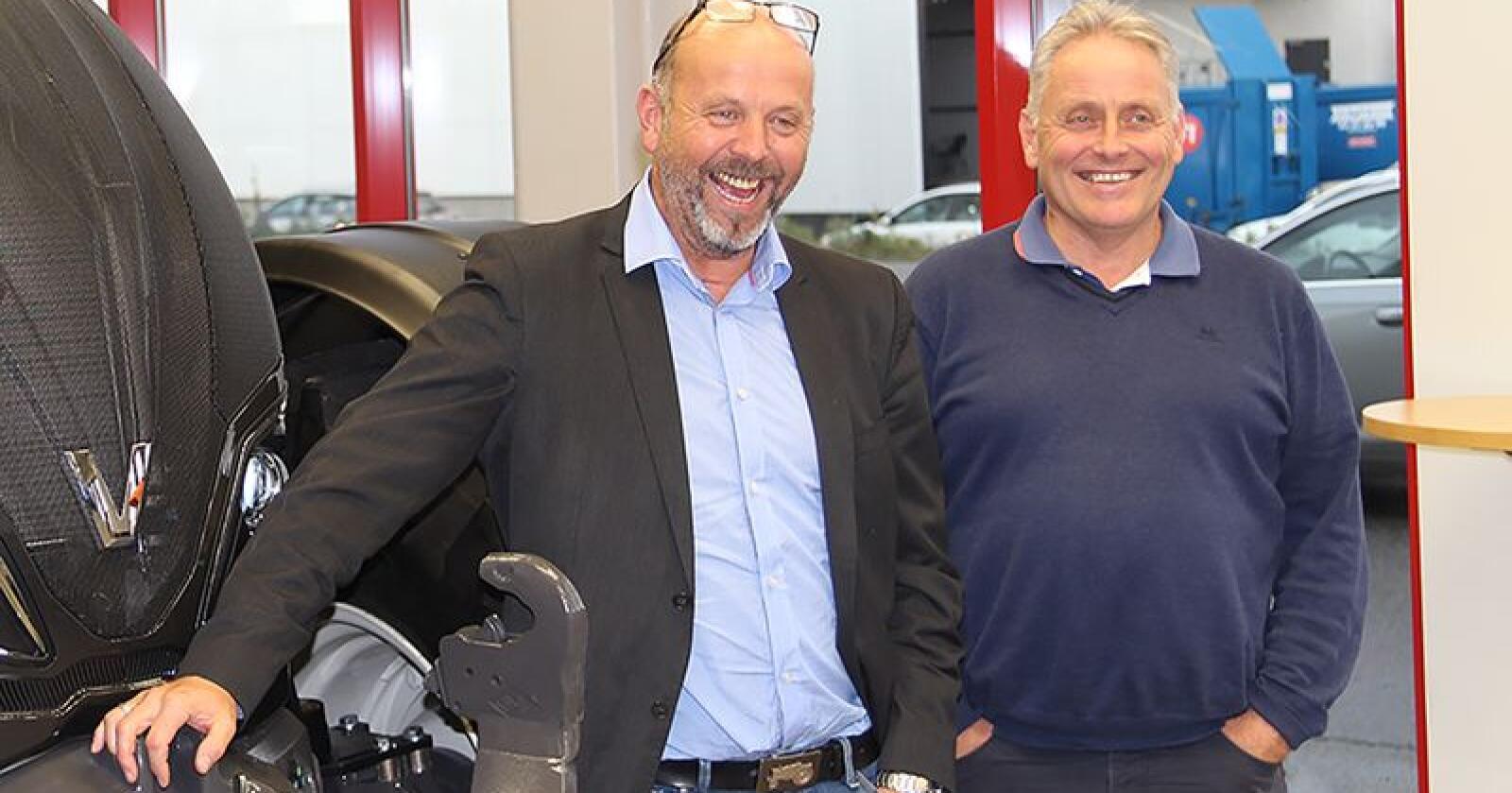 Konsernsjef i BR Industrier, Bjørn Rygg (f.v) og daglig leder i Akershus Traktor, Ole Hveem har ambisøse mål for samarbeidet. (Foto: Iver Gamme)