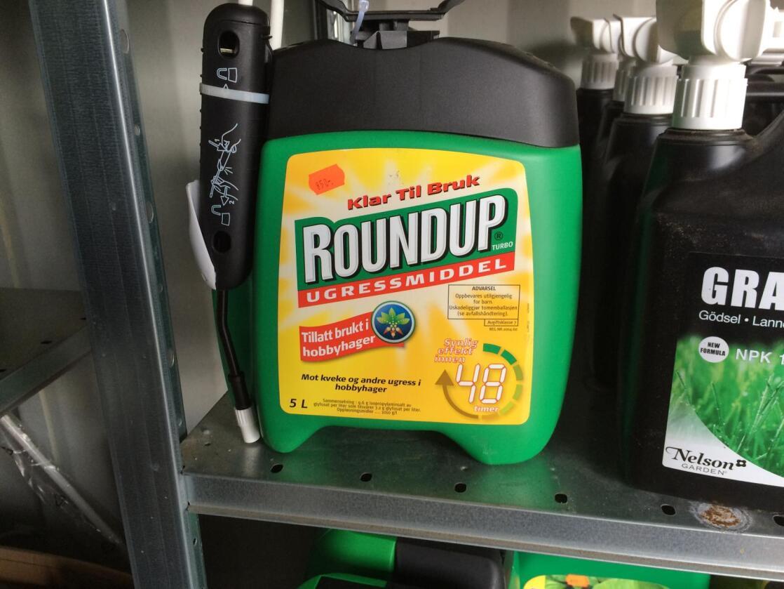 Glyfosat er virkestoffet i ugressmiddelet Roundup som er ett av verdens mest brukte ugressmidler. Foto: Svein Egil Hatlevik