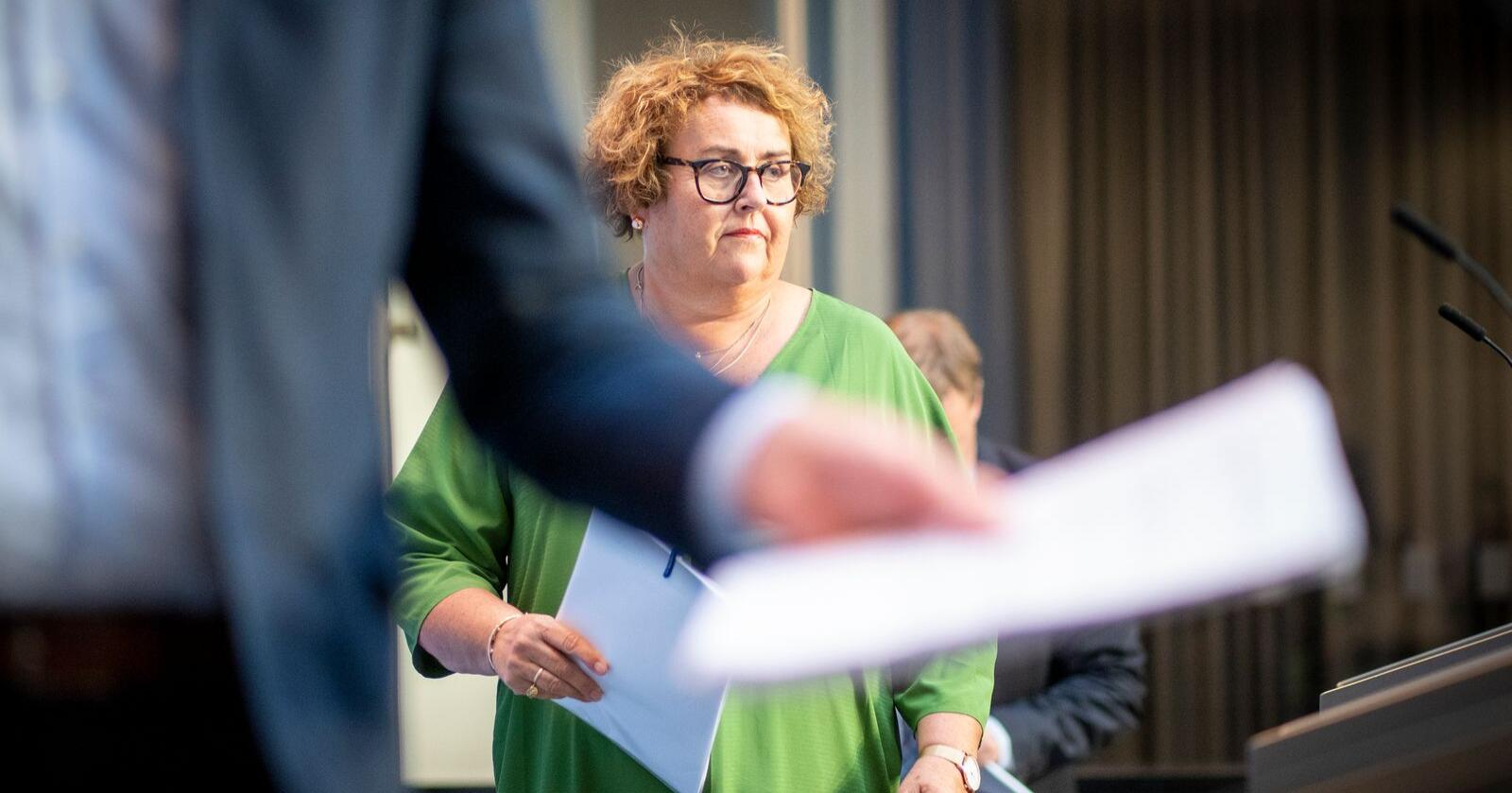Budsjett: Landbruks- og matminister Olaug Bollestad (KrF) får inn litt over tre prosent meir på budsjettet til Landbruks- og matdepartementet. Foto: Heiko Junge / NTB