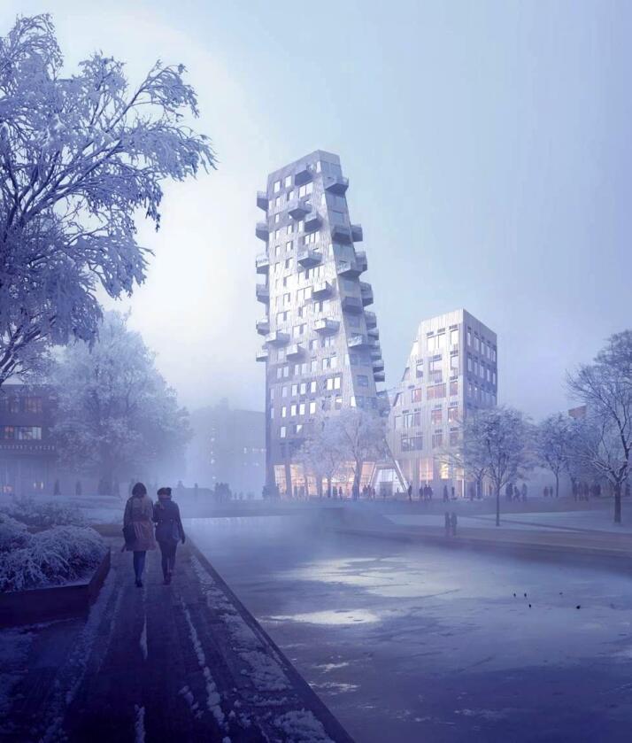 Høyhus: Disse boligblokkene i Oslo er blant eksemplene Snøhetta benytter når bruken av tre skal imponere nye arkitekturinteresserte. Illustrasjon: Snøhetta