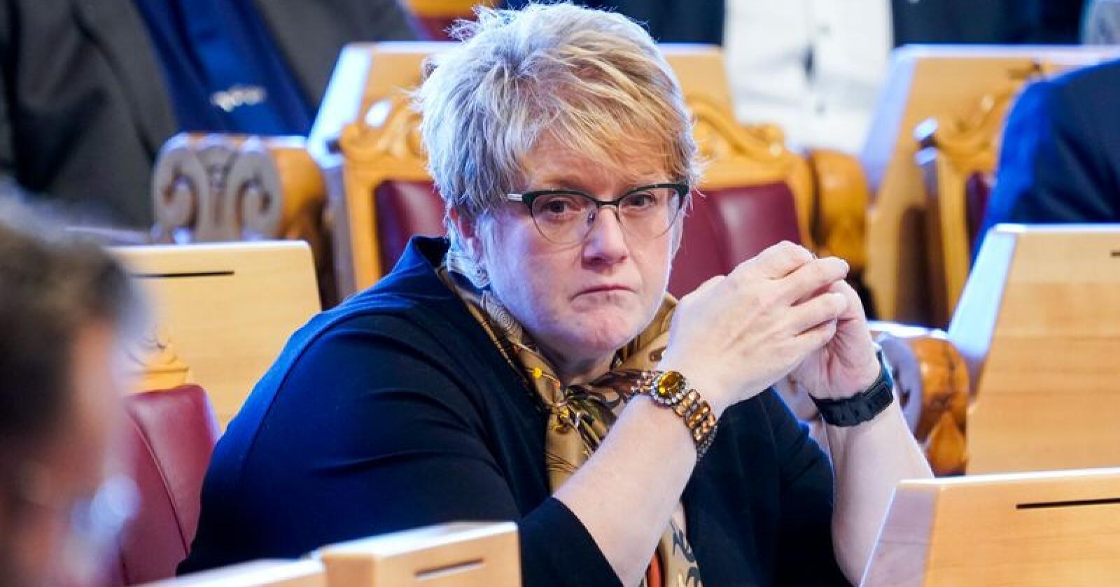 Venstre-leder Trine Skei Grande gjør det dårlig på Dagbladets partiledermåling. 55 prosent av de spurte synes hun gjør en dårlig jobb som partileder, og 8 prosent synes hun gjør en god jobb. Foto: Terje Pedersen / NTB scanpix