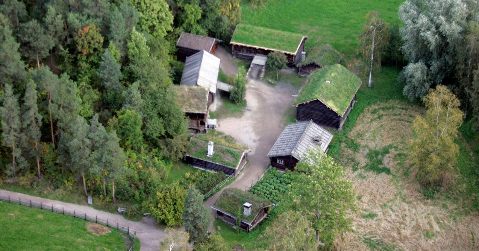 Flytfoto av Norsk Folkemuseum, tatt i 2005. Foto: Cornelius Poppe / NTB