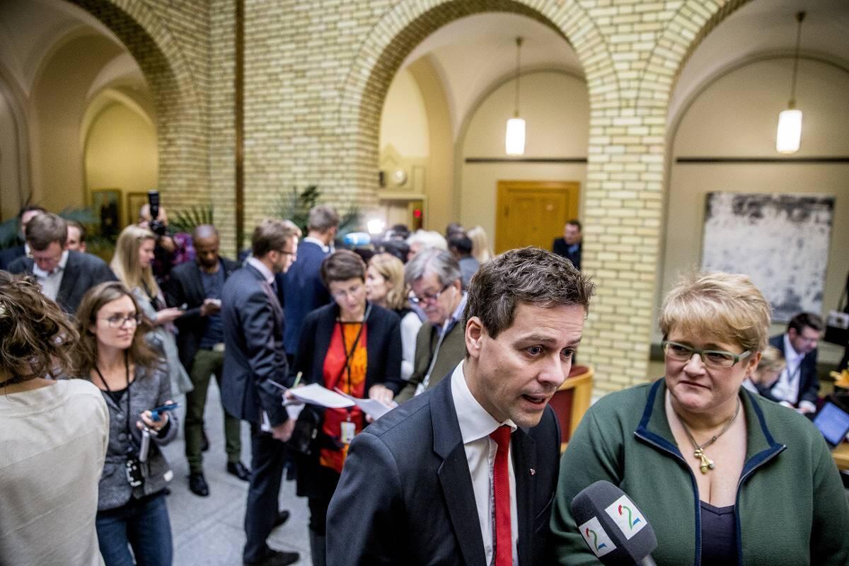 Kritiske: Både KrF og Venstre, her ved partilederne Knut Arild Hareide og Trine Skei Grande, vil gjerne forhindre at EUs datalagringsdirektiv innføres. Foto: Stian Lysberg Solum/NTB Scanpix