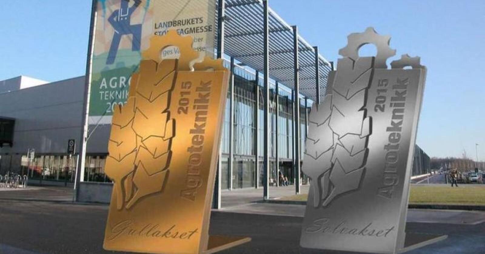 Gull og sølv: Det vanker edelt metall til de mest innovative produktene på Agroteknikk i november. Hvem som vinner i 2018 avgjøres av en fagjury. Fotomontasje: Norsk Landbruk