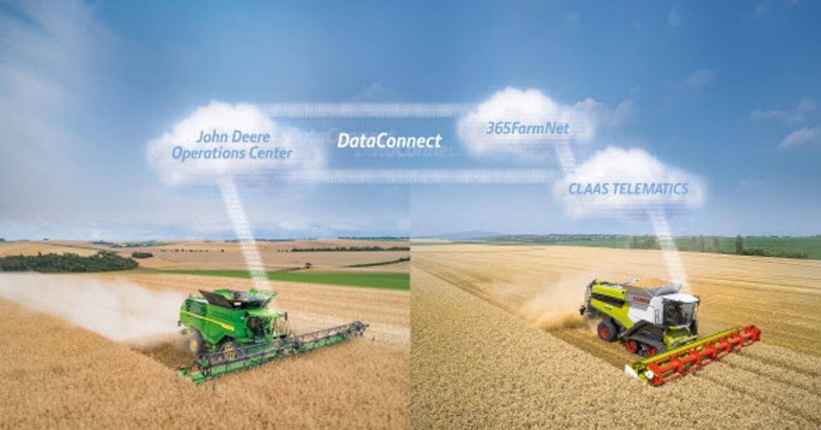 SAMMEN: Et ny tjeneste gjør det mulig å få oversikt over maskinflåten selv om den består av ulike merker, men i første omgang gjelder det Claas, John Deere og 365FarmNet. Illustrasjon: Produsenten