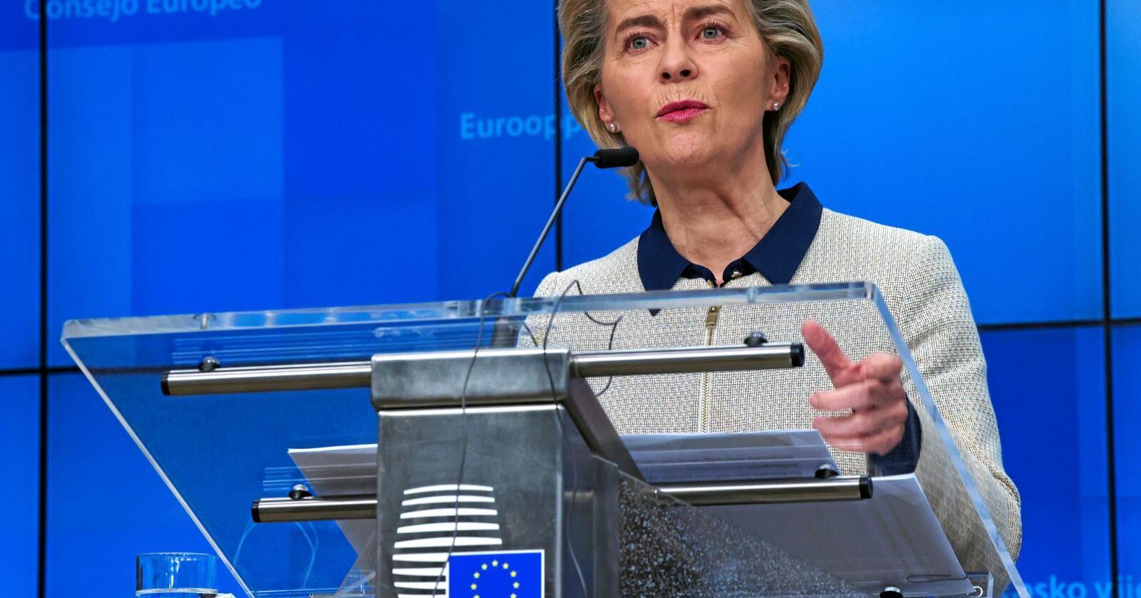 EU-kommisjonens leder Ursula von der Leyen er positiv i forhandlingene med Storbritannia om Brexit. Foto: (AP Photo/Olivier Matthys, Pool)