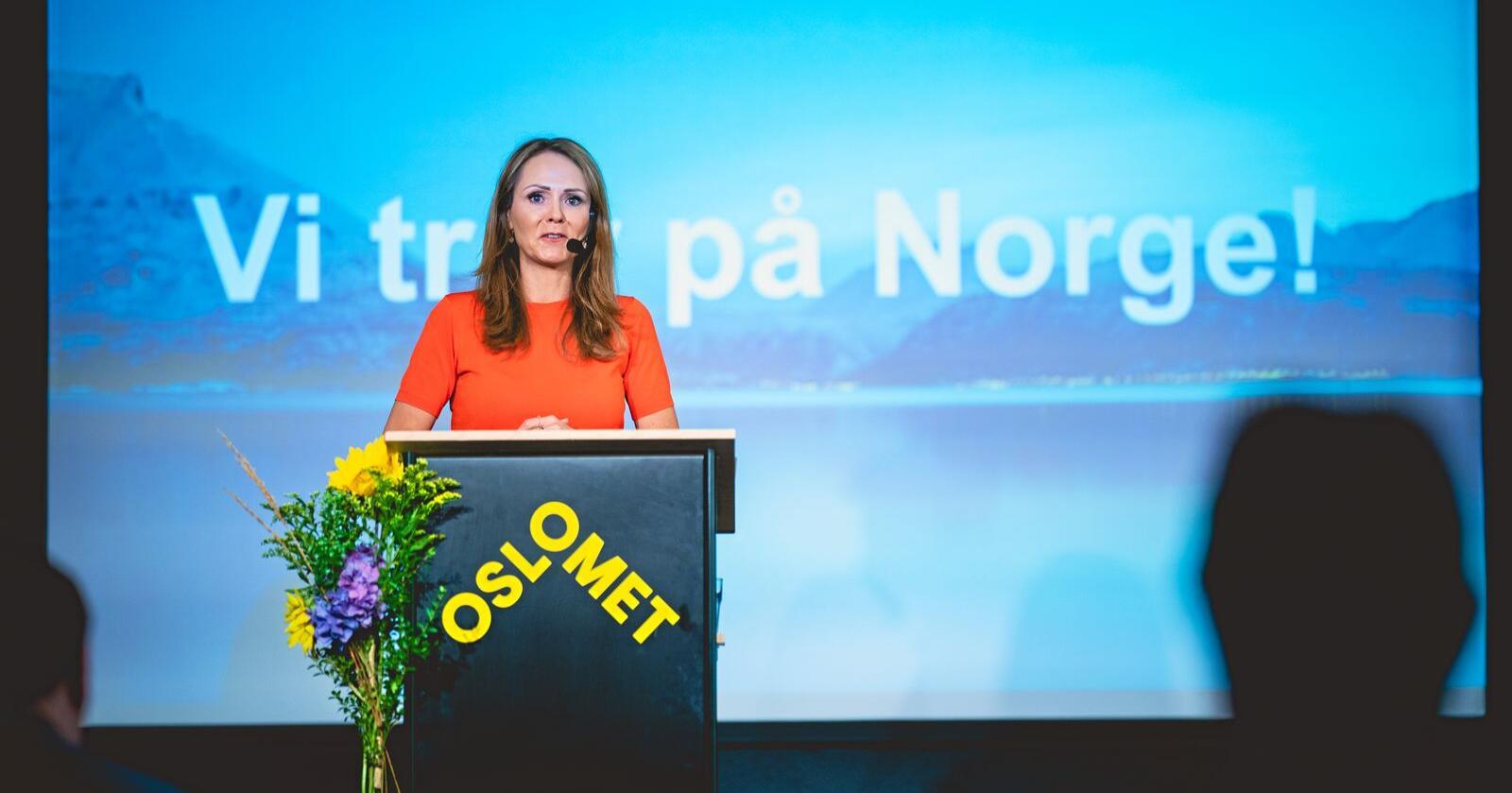 """Viktig: Lokaldemokratiet er ikke """"politisk lekmannsskjønn"""", men en viktig verdi for Norge, skriver distriktsminister Linda Hofstad Helleland (H). Foto: Stian Lysberg Solum / NTB scanpix"""