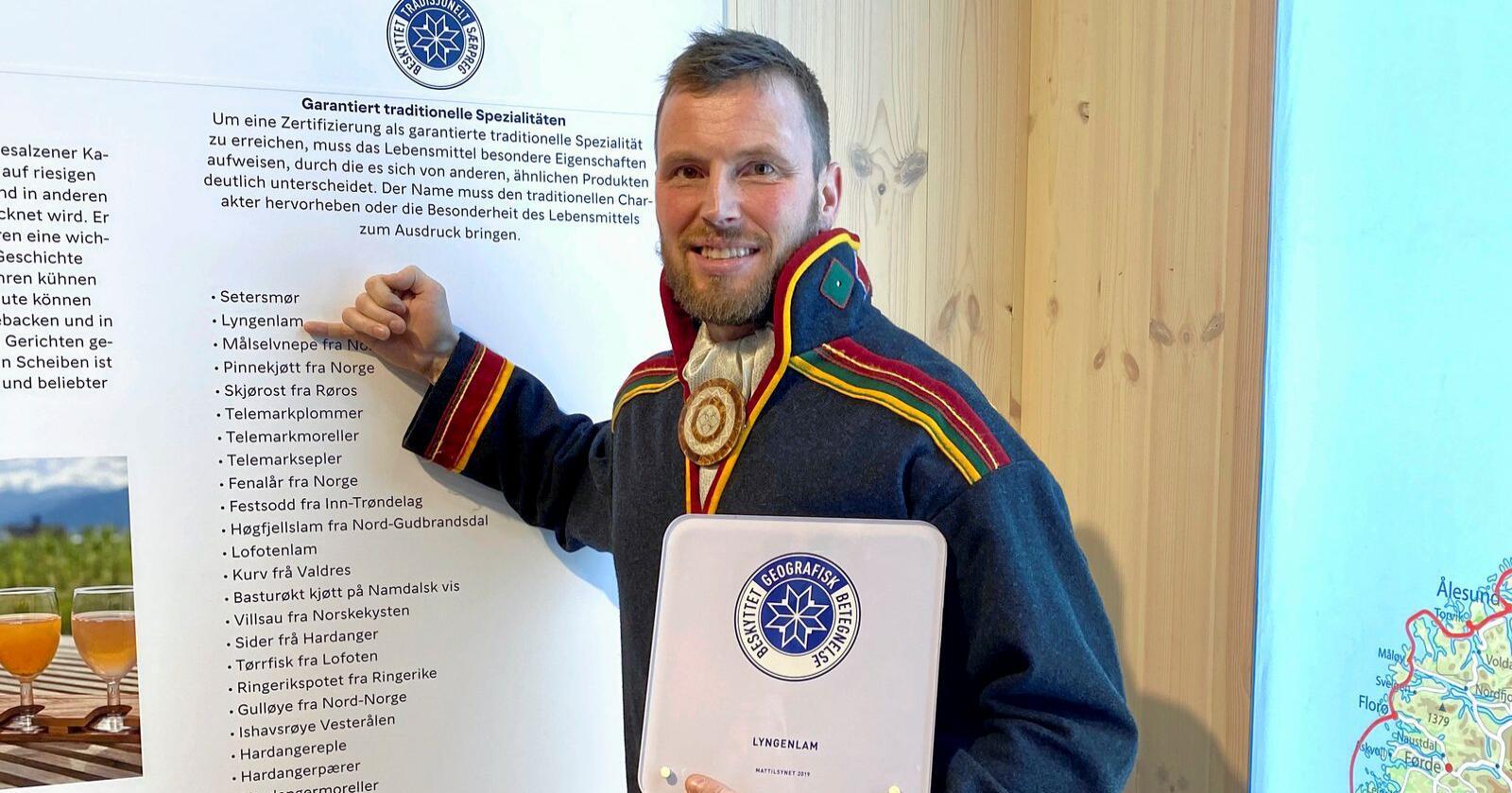 Runo Berglund fra Lyngenlam SA, som fekk beskytta geografisk betegnelse på Grüne Woche 2020. Foto: Anne Mette Johnsen, Matmerk