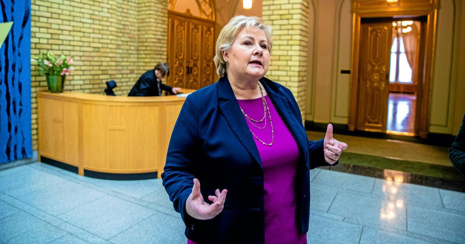 Tabbe: Statsminister Erna Solbergs kommunereform omtales som en tabbe av eksperter på offentlig styring. Foto: Stian Lysberg Solum/NTB scanpix