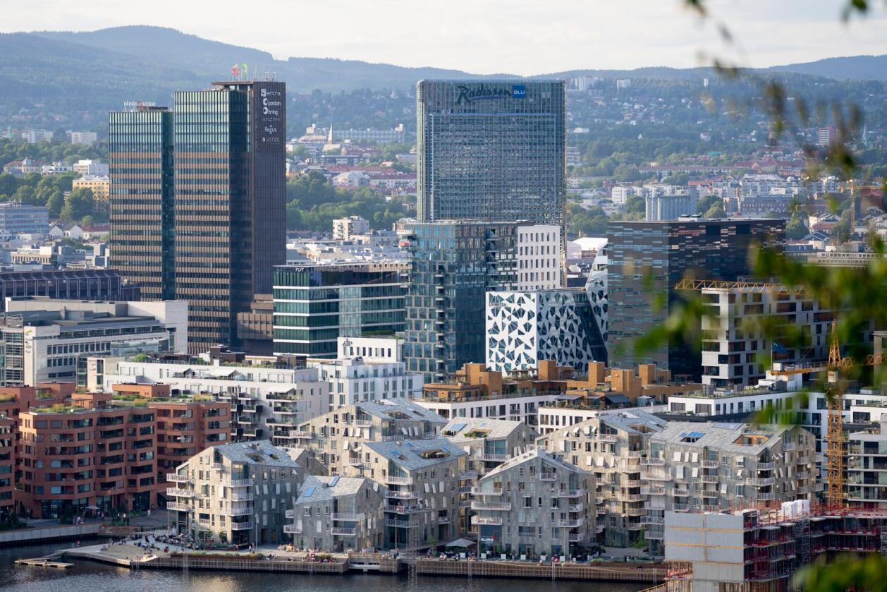 Utsikt over Barcode i Oslo sentrum sett fra Ekebergrestauranten.Foto: Fredrik Hagen / NTB