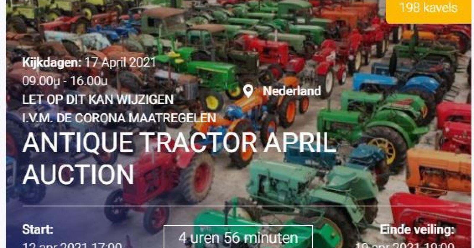 Auksjon: Nesten 200 gamle og spesielle traktorer og maskiner skal under hammeren. Skjermdump: VDI-Auctions