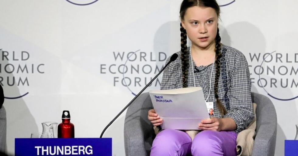 Ung klimaforkjemper: 16-år gamle Greta Thunberg ble invitert til å snakke under World Economic Forum tidligere i vinter. Foto:  Markus Schreiber / AP / NTB scanpix