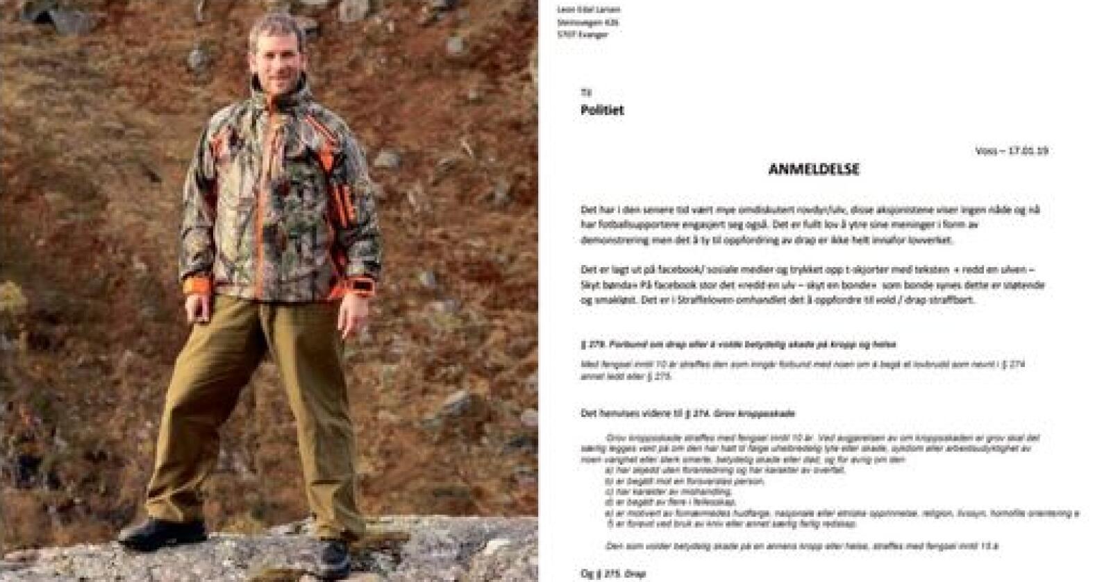 Torsdag ettermiddag leverte Leon Edal Larsen fra Voss en anmeldelse på Voss lensmannskontor. Bildekollasj: Privat
