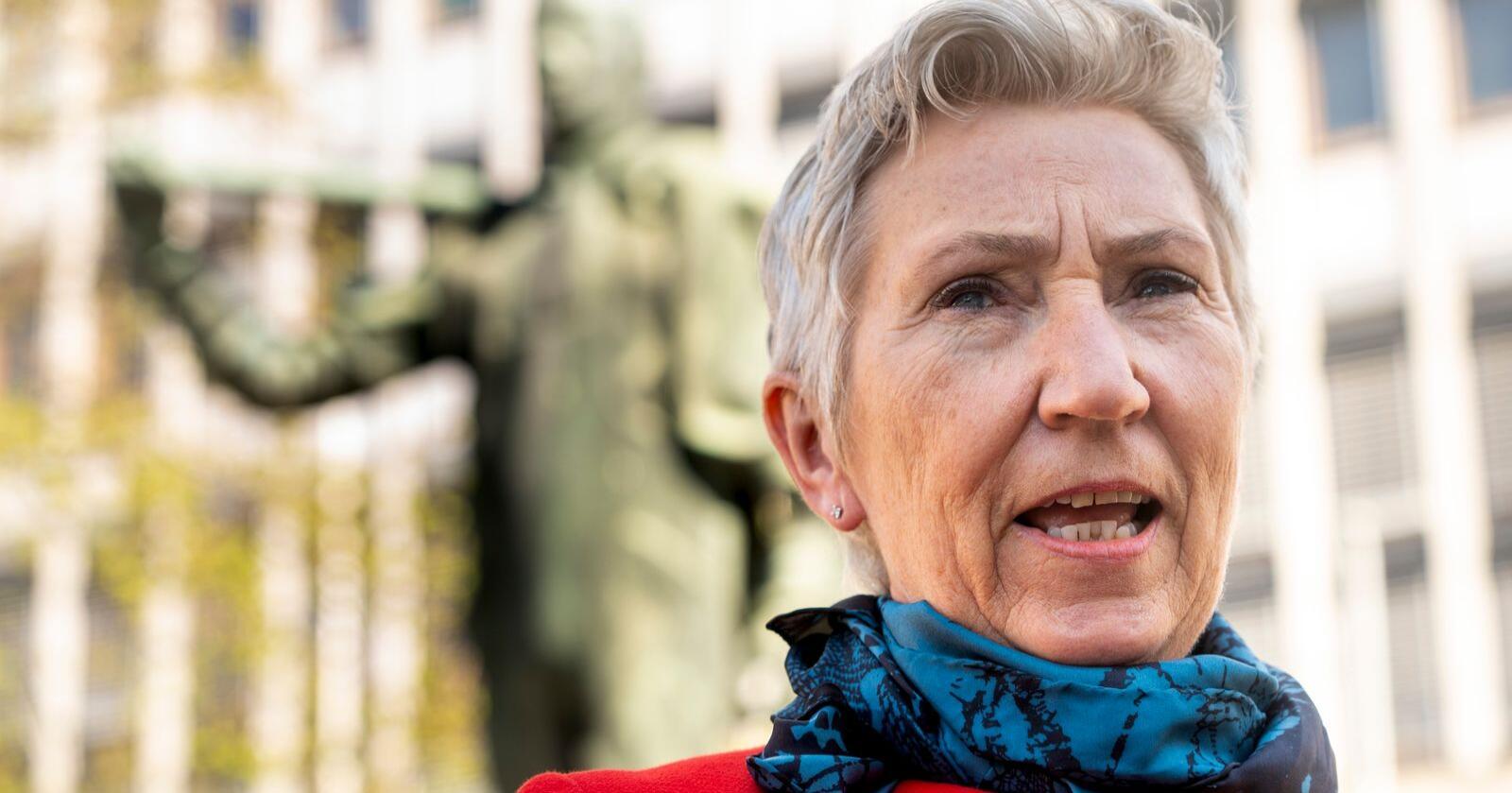 LO - leder Peggy Hessen Følsvik på Youngstorget 1. mai. Foto: Terje Pedersen / NTB