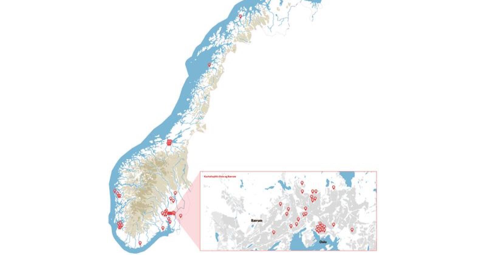 42 av 74 styreledere i selskaper der staten har eierandel har bostedsadresse i Stor-Oslo. Det geografiske mangfoldet i styrerommene har blitt mer storbytungt under Erna Solbergs regjering, viser Nationens gjennomgang av styresammensettingene.