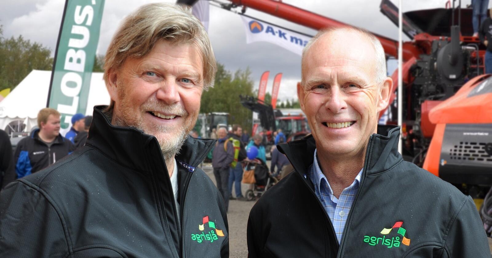 GODT FORNØYD: Messeleder Ole T. Hofstad og styreleder Jan Yngvar Kiel er godt fornøyd med at arrangørselskapet nå er rustet til ny Agrisjå-messe i august 2023.